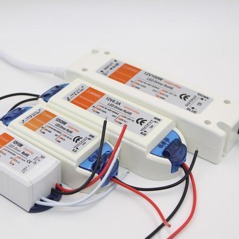 Adaptador de corriente AC DC de 12V a 110V, 220V, 18W, 28W, 72W y 100W, cargador de conmutación, cargador de fuente de alimentación para tiras de luz LED