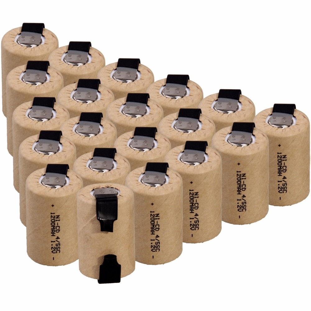 20 baterías recargables NICD de la batería de 4/5SC 1200mah 1,2 v para el taladro eléctrico del destornillador para el juguete ligero de la emergencia