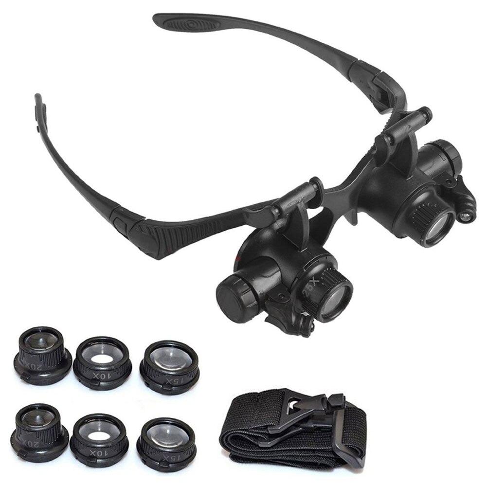 Relojes/reparación electrónica de joyas, lupa LED de doble ojo, gafas de joyería, reparación de relojes, lente 10X 15X 20X 25X