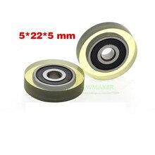 Misumi-roue/poulie en caoutchouc plaqué caoutchouc   Roue de guidage silencieux, roue de roulement élastique 1 pièce 5*22*5mm, roulement plat du japon 625
