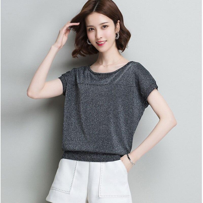 Jersey de punto para mujer, de manga corta Camiseta holgada, camiseta de...