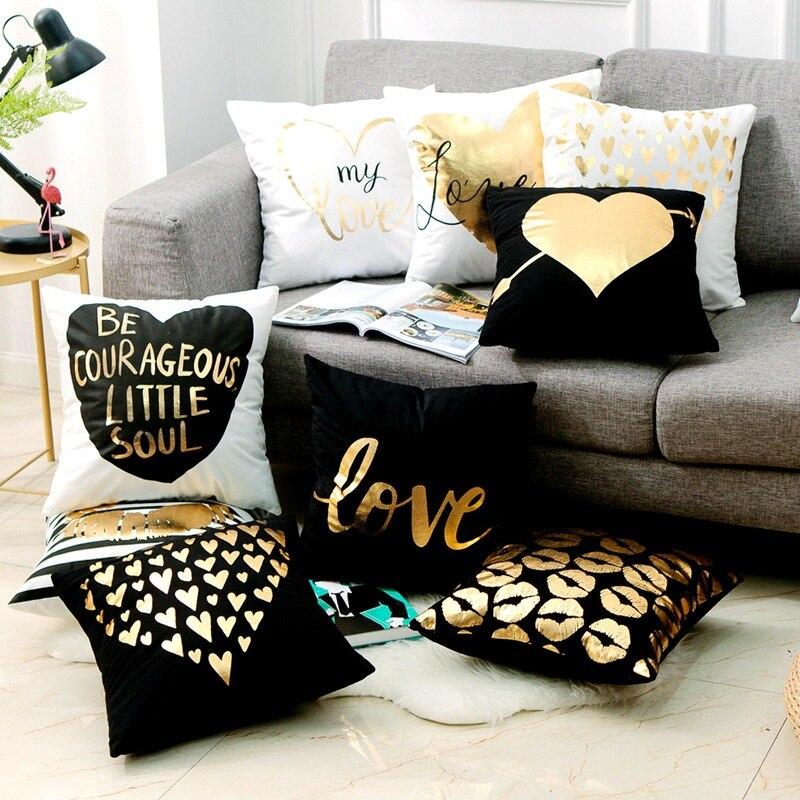 Amor negro y blanco bronceado cojines almohadones decorativos de papel de aluminio dorado geométrico almohada decoración del hogar sofá almohada 17*17 pulgadas