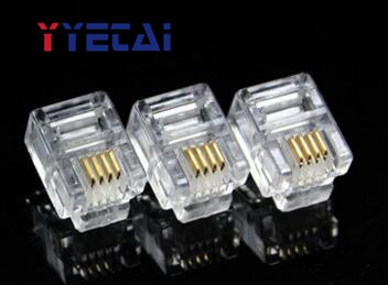 YongYeTai RJ11 cabeza de cristal de teléfono cuatro núcleos 6P4C 2-4 núcleo cable universal envío gratis