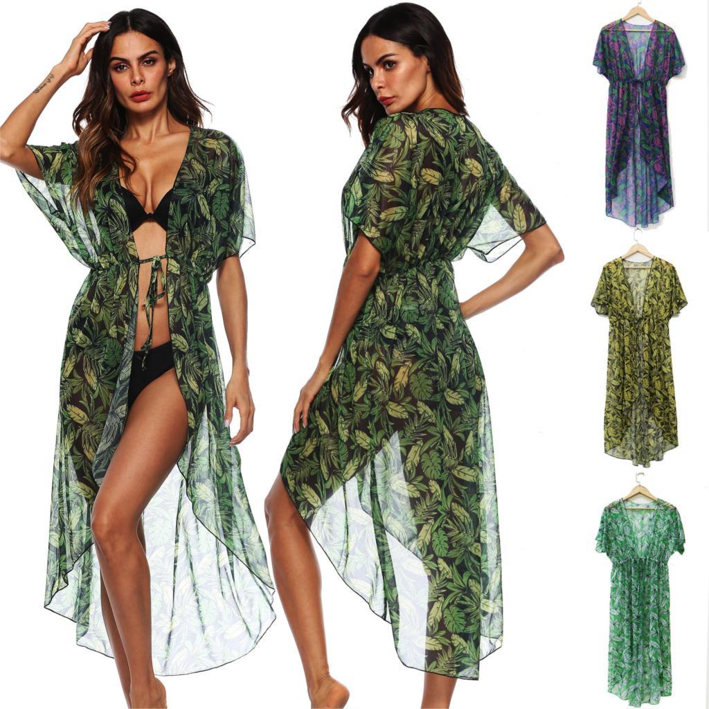 Beachwear Saida De Beach Long Women Dress Towel Cover Ups Summer Tunic 2019 Wear Lace Leaf Printed Loose A1920 Acetate Print