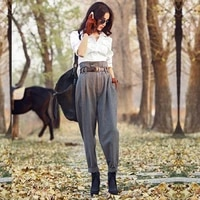 spring autumn woolen high waist women england style stripe slim skinny pants casual ankle length trousers