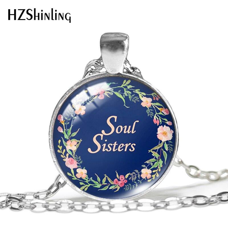 2019 nova alma irmãs pingente amor irmã qoute colar mão artesanato jóias cúpula de vidro pingentes hz1