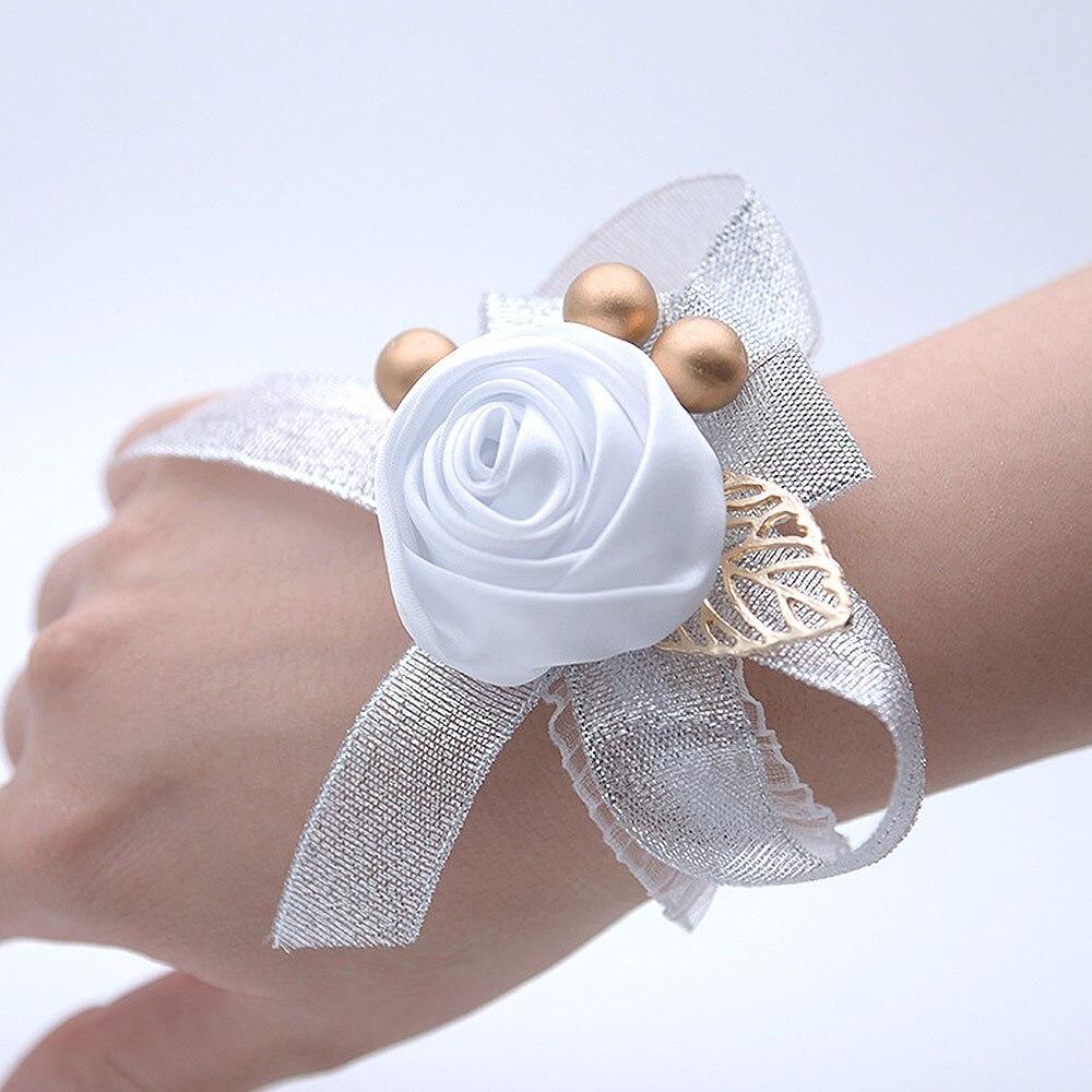 Brazalete con ramillete de muñeca de rosas artificiales de 30 estilos, flores de rosa de seda para dama de honor, flores de mano con decoración para fiesta de boda