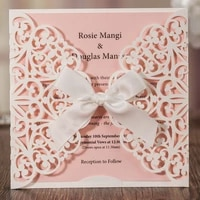 wishmade ivory square laser cut lace wedding invitations with bowknot pink inserts for engagement marriage birthday 50pcs cw6177