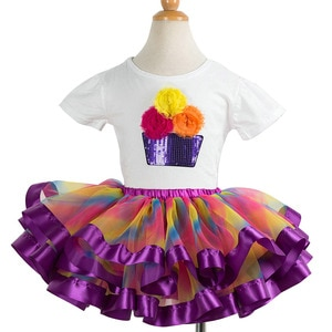 Children Spring Summer Outfits Sequin Cupcake Pattern White Shirt + Tutu Skirt 2t 3t 4t 5t 6t 7t 8t 9t 10t 11t Girls Clothes Set