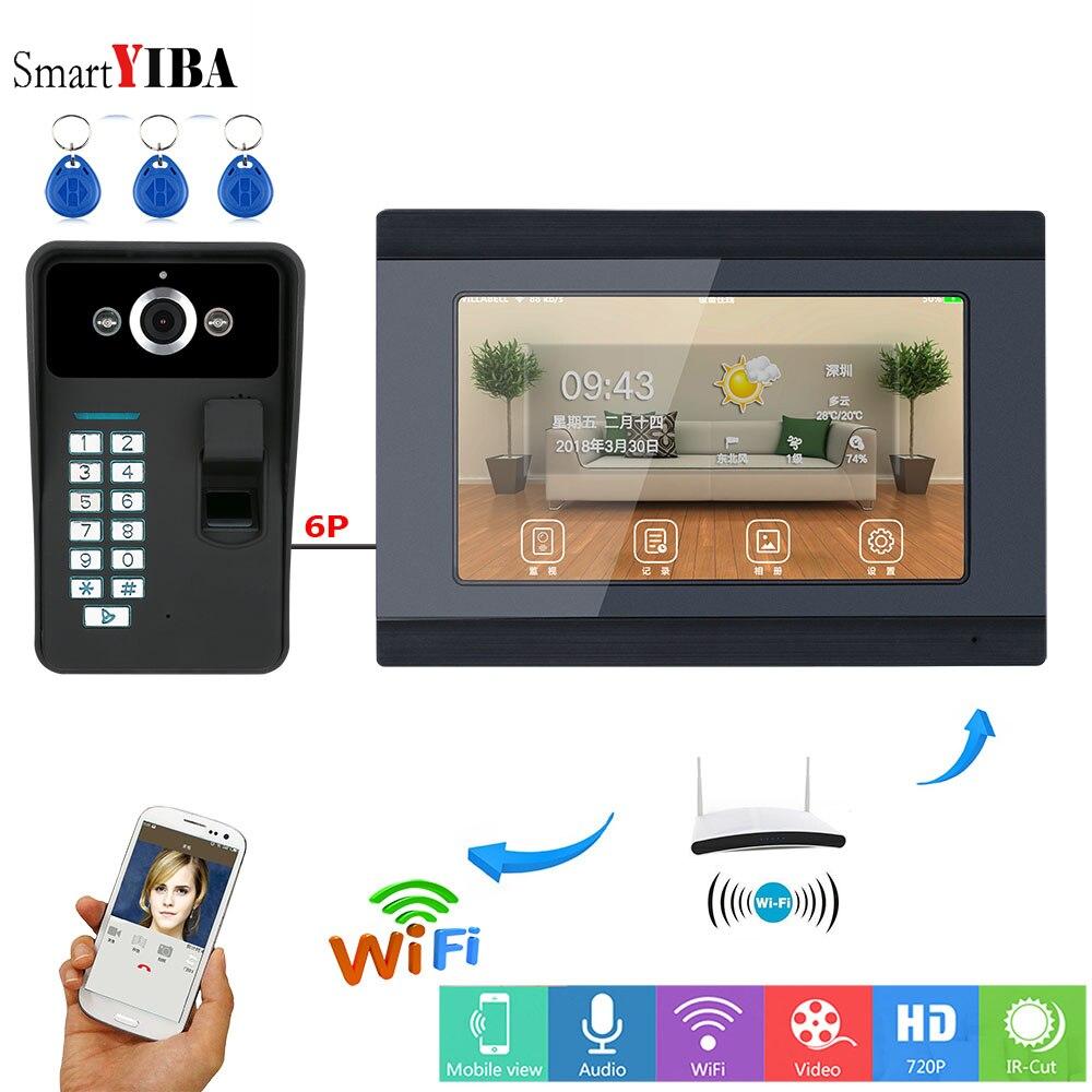 SmartYIBA 7 Inch Video Deurtelefoon IP Intercom Vingerafdruk RFID Unlock Huis Intercom WIFI Video Intercom App Controle IOS Android