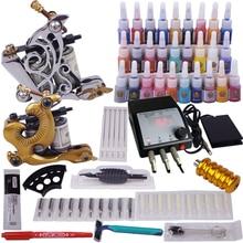 Professionele body art 2 stks tatoeage machine naalden inkt voeding volledige set tattoo kit voor beginner