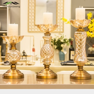 Nordic Candle Holder Table Crystal Candlestick Geometric Romantic Gold Candle Holders for Wedding/Dinner Decoration GZT116