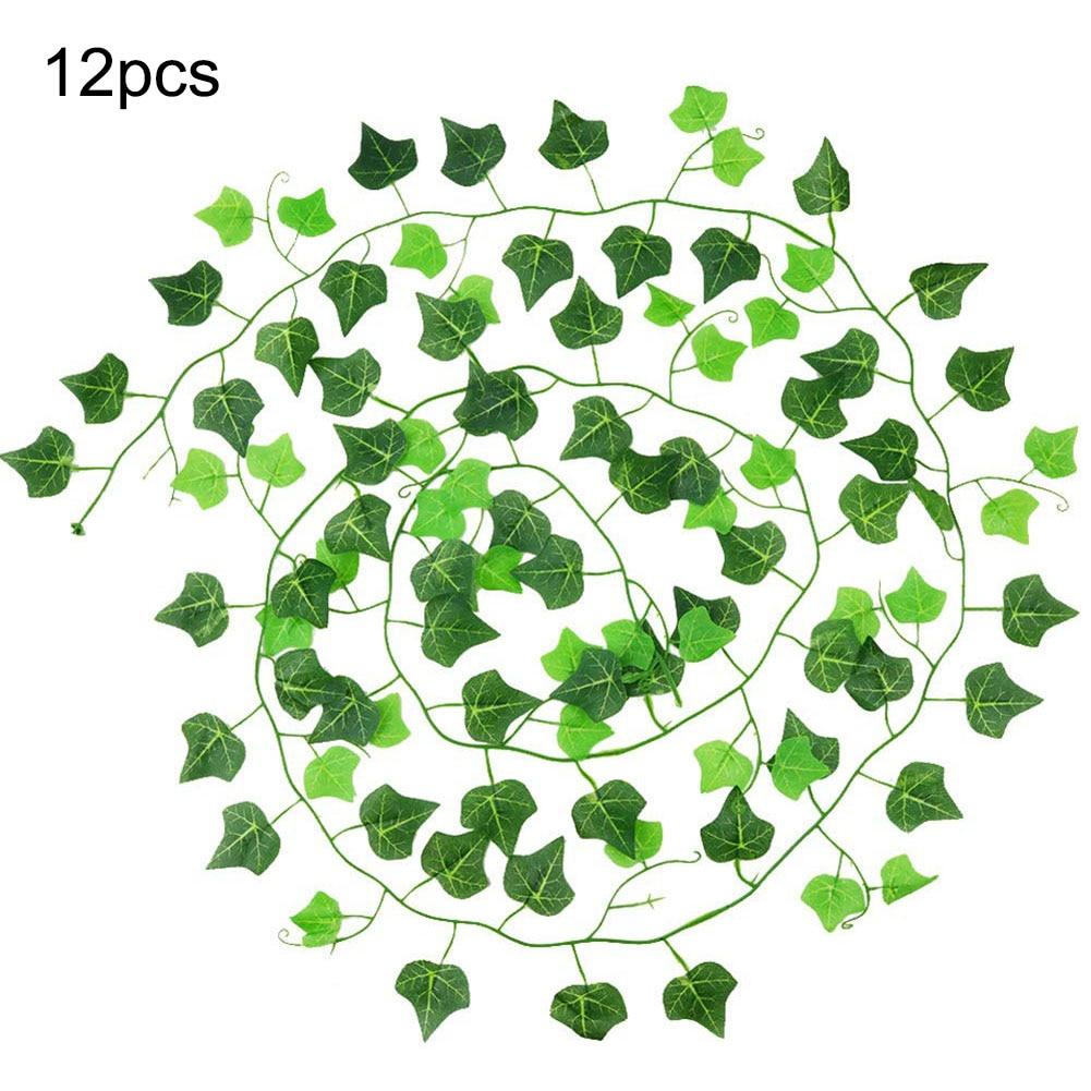12 pçs/set 2.4m folha de hera artificial guirlanda planta videira falso folhagem artificial decoração videira delicadas festas de casamento decoração