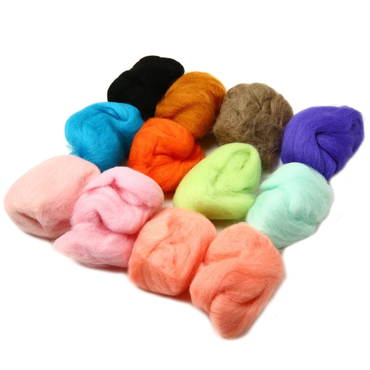 12 Colors 5g/bag Wool Fibre Roving For DIY Needle Felting Hand Spinning DIY Fun Doll Needlework Raw Wool Felt poke