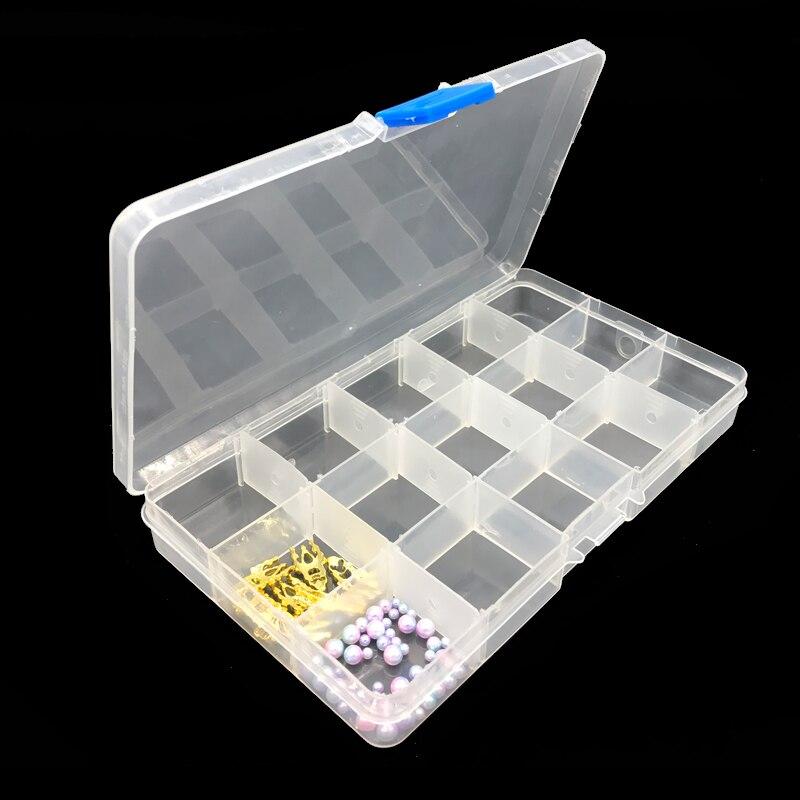 15 compartimentos transparente vacía Nail Art Tip Box almacenamiento Rhinestone cuentas de decoración caso joyería manicura Material contenedor