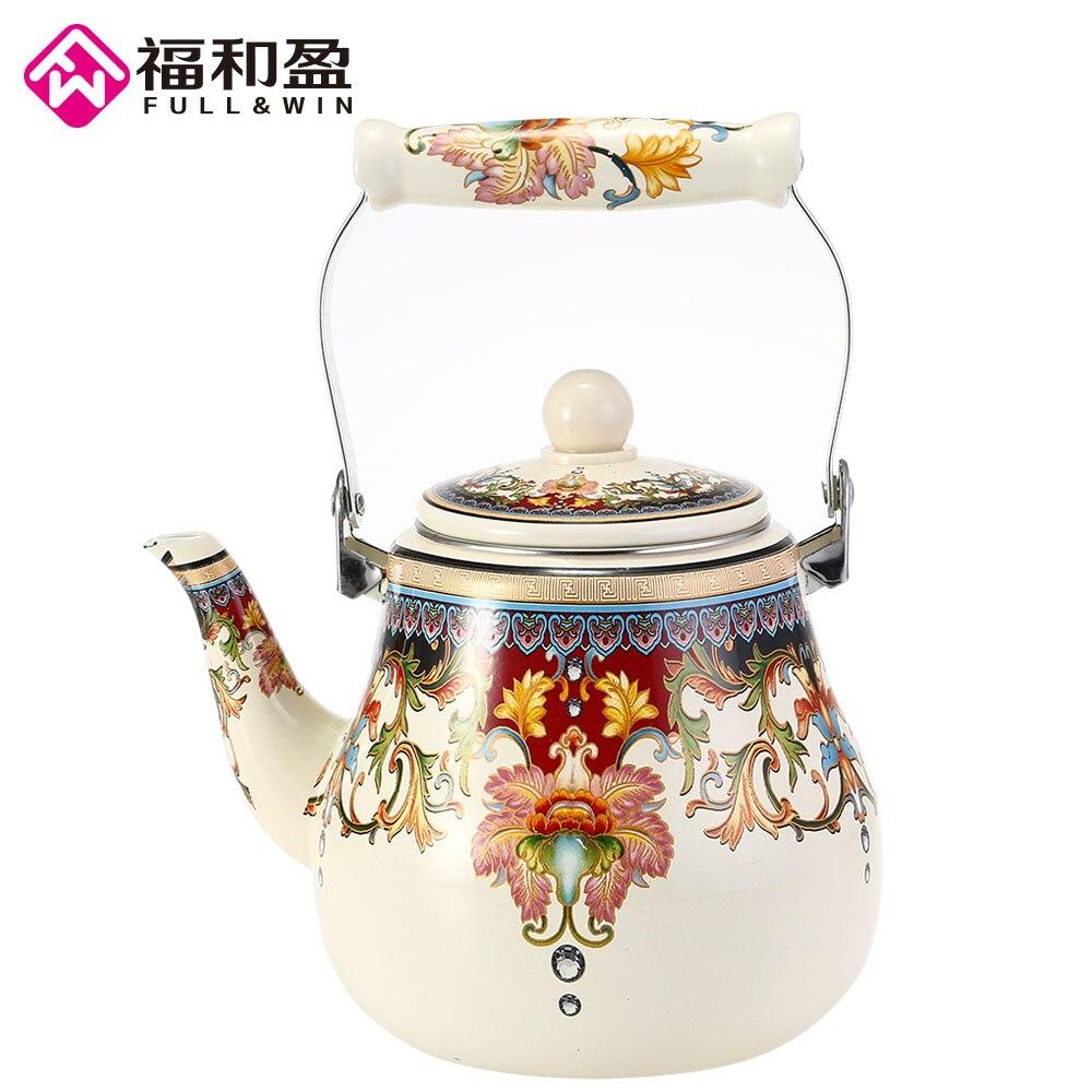 2.7l de alta qualidade esmalte chaleira louça bule cozinha ferramentas samovar chaleira elétrica bule chá com flor selo