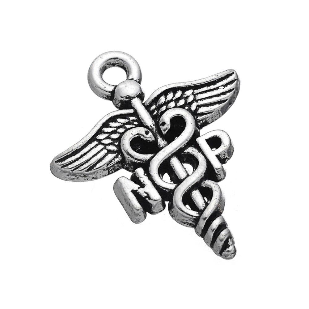 EUEAVAN 30pcs Banhado A Prata Vintage Design Profissional de Enfermagem Charme Caduceu NP Carta Pingente Para Fazer Jóias