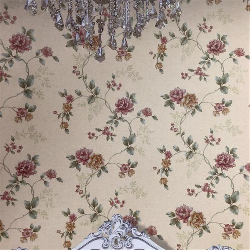 Papel tapiz de pared de alta gama retro país americano flores papel pintado 3D jardín dormitorio sala de estar sofá papel tapiz de fondo