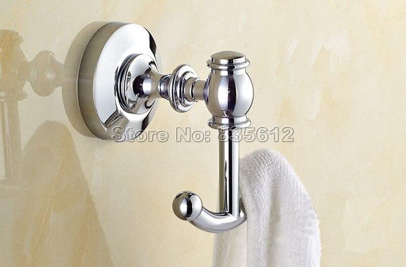 Аксессуары Для Ванной Комнаты Настенный Современный полированный хром оборудование для ванной Халат крючок Wba806