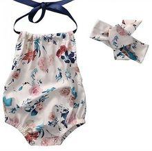 Yenidoğan Bebek Kız Giysileri Set Kolsuz Halter Romper Backless Tulum Bebek + Kafa Bandı Kıyafet Sunsuit Çocuk Giysileri