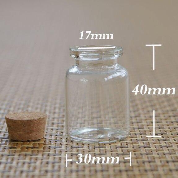 Vial de muestra de vidrio de 15 ml transparente de fábrica, botella de vidrio, botella de deseos 30*40*17 MM