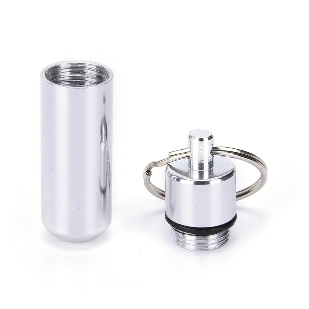 1 Uds caja de píldoras de aluminio impermeable de plata caja de píldoras organizador de drogas llavero tableta Pillbox contenedor Stash Holder