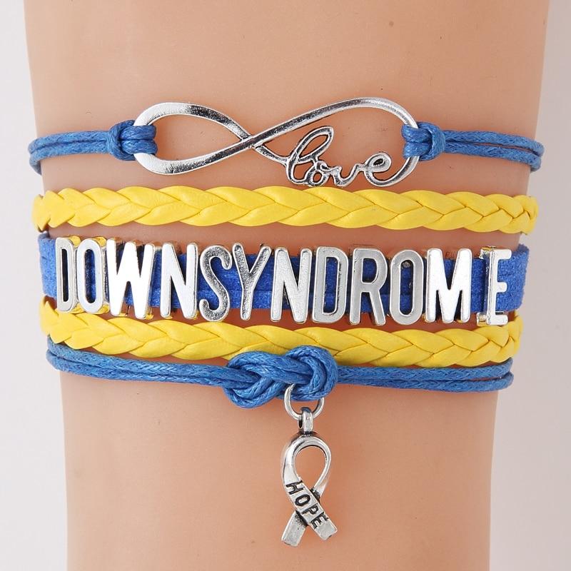 Infinity Love Down Syndrome Hope Ribbon Charm Bracelets Bangles Gifts For Women Men Awareness Wrap Bracelets Jewelry
