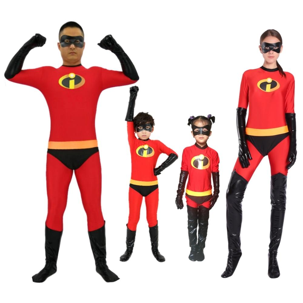 Incredibles 2 Costume Mr Mrs Incredibles Cosplay Elastigirl Hulk Spider Family Adult Kid disfraz niño Suit Jumpsuit Bodysuit