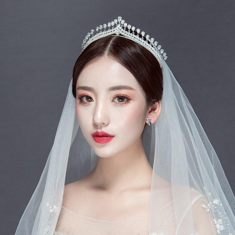 Tiara de circonia cúbica AAA de lujo para circonita para novia, corona para mujer, accesorios para el cabello de boda CZ, novia, Reina real, Diadema ML601