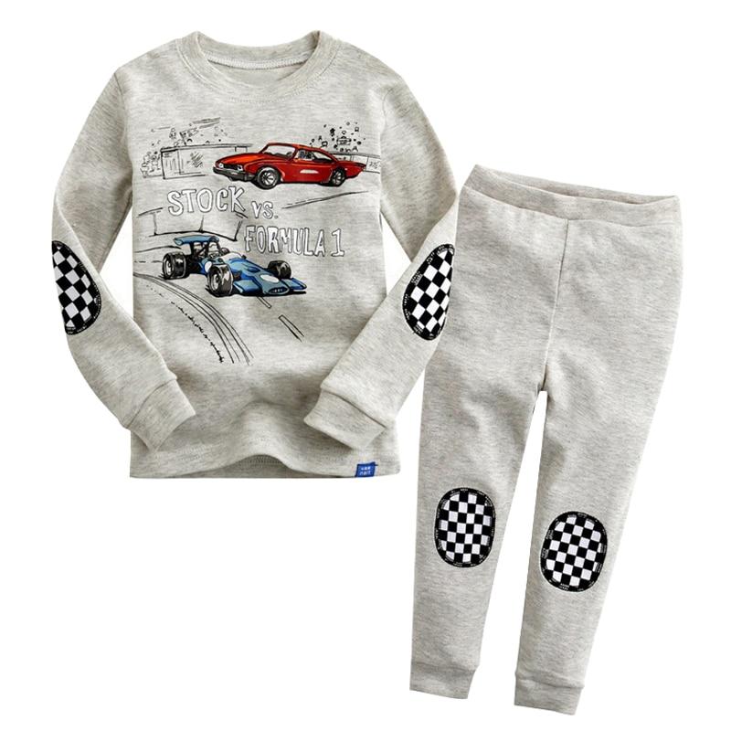 Крутая детская пижама с гоночной машинкой, одежда для сна для мальчиков, одежда для сна для детей, осенне-зимняя одежда с героями мультфильм...