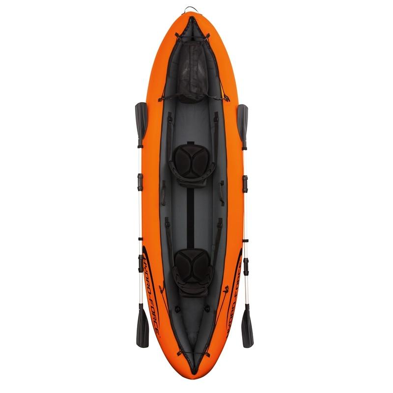 11ft Inflatable 2-Person Luxury Venture Kayak Fishing Double Paddle Floating Boat Sit in Sea Kayak Fun Air Raft