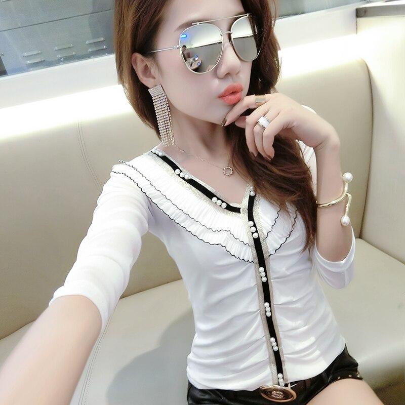 Beading Fashion European V-Neck Tshirt 2019 New Autumn Summer Top Long Sleeve Slim Sexy Back Clothes Shirt Camiseta Mujer T97127