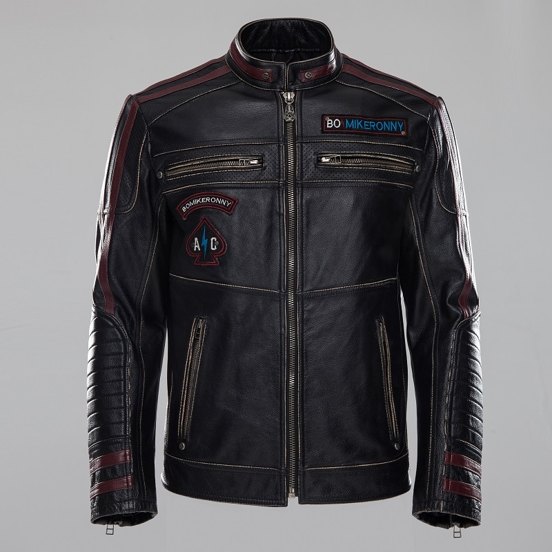 Vintage Black Motorcycle Genuine Leather Clothing Cow Skin Motorcycle Suit, Retro Embroidery Mans Genuine Leather Jacket
