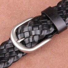 ZAYG taille ceintures femmes mode hommes ceintures de luxe tressé en cuir véritable sangles jean large ceinture mâle de haute qualité ceinture décontractée