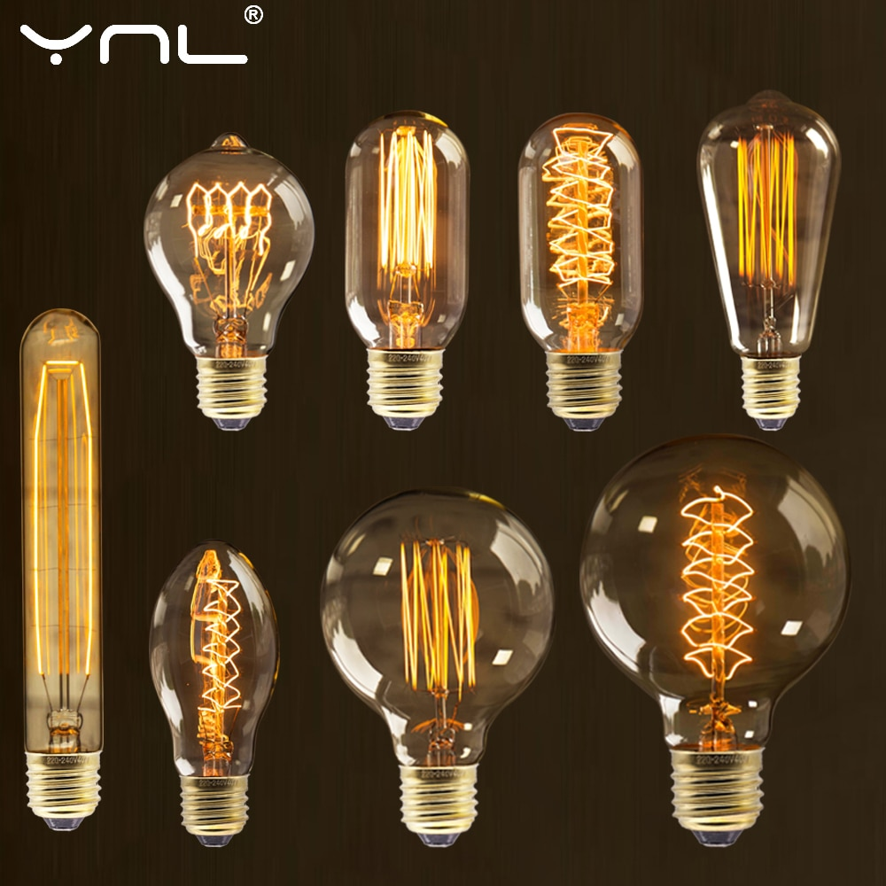 AliExpress - Retro Vintage Edison Bulb E27 40w 220v Ampoule Vintage Bulb Edison Lamp Filament Incandescent Light Bulb Retro Lamp Indoor Decor