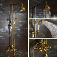 waterfall gold shower system with exposed hot cold valve shower head hand shower diverter 24 riser and brass cross handles