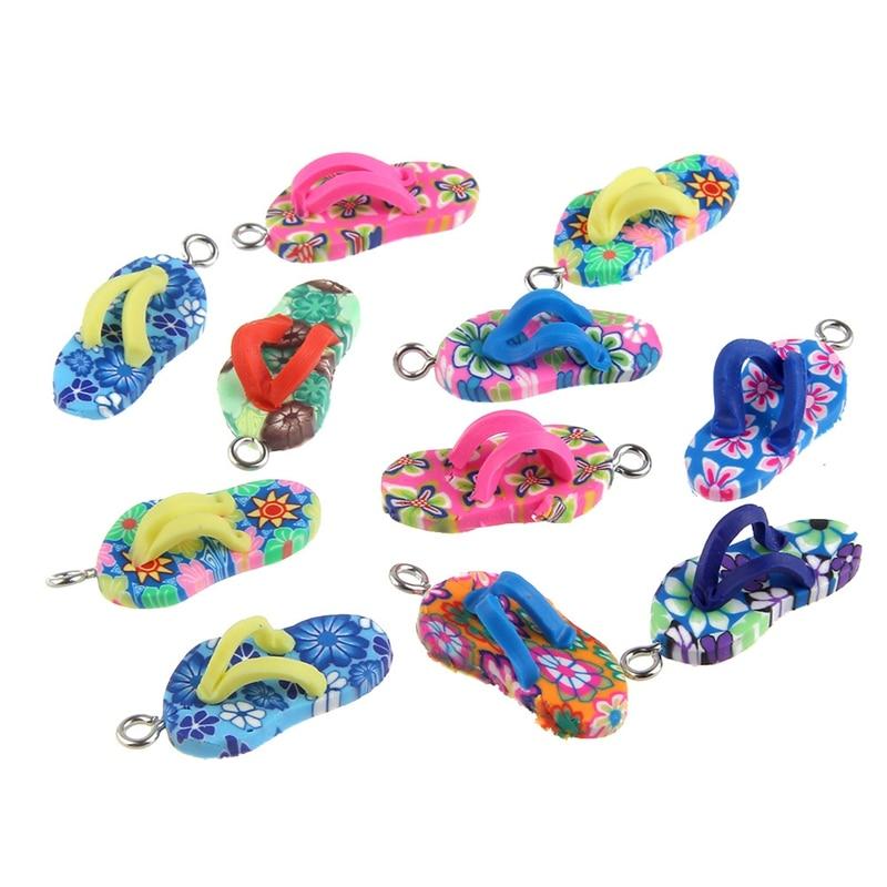 10pcs/lot Soft ceramics Mixed Color PVC Slipper Pendents Charm Handcraft Finding Accessories DIY Necklace/Bracelet Keychain