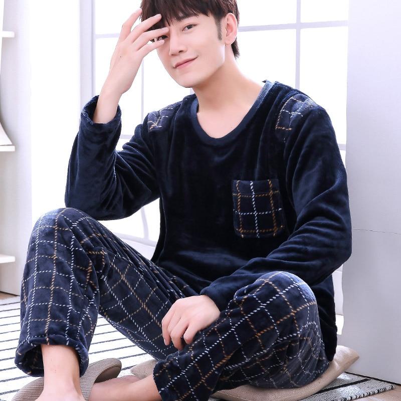 Новая стильная фланелевая Мужская пижама l Коралловая флисовая Пижама большого размера, Мужская домашняя одежда, теплые ночные рубашки в кл...