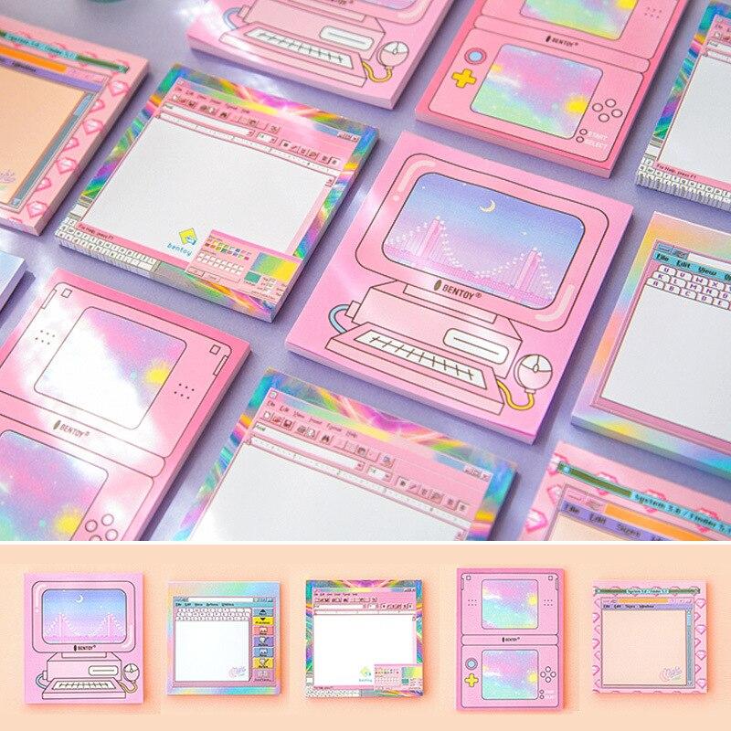 AM22 50 страниц/упаковка Kawaii компьютерный стиль блокнот Липкие заметки школьные офисные поставки студенческие Канцтовары, блокнот