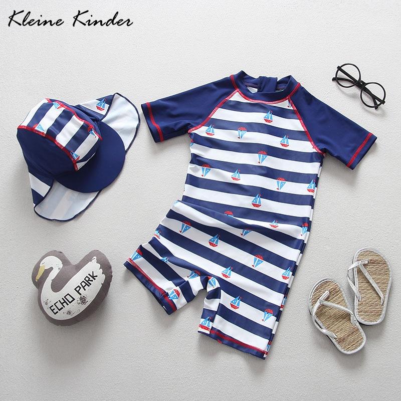 Boy Swimsuit Kids 2019 Brand New Striped Baby Bathing Suit Childrens Swimming Suit with Sun Cap Cute Cartoon Kids Swimwear 1-7T