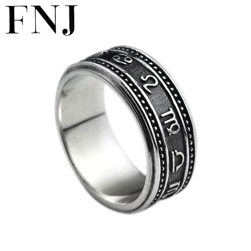 FNJ 925 srebrny pierścień konstelacji obrotowy Aquarius rak koziorożec oryginalny S925 srebro pierścionki dla kobiet mężczyzn biżuteria