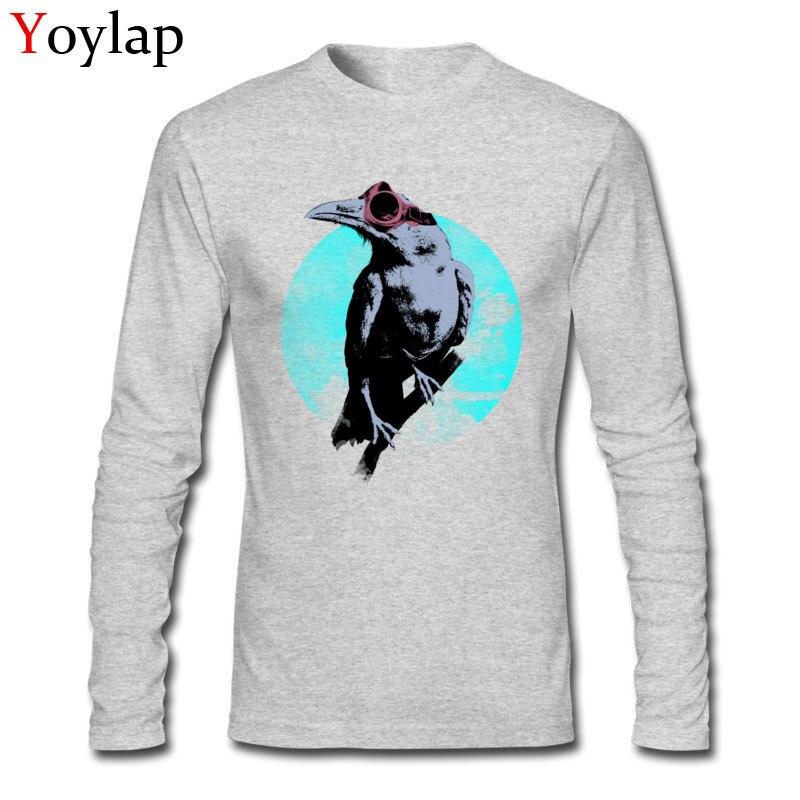 Cool Moon Hawk, Camiseta clásica de diseño de dibujos animados, camisetas para hombre, tela de algodón, nueva temporada, ropa suave de manga larga