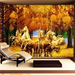 Wellyu personalizado 3d papel de parede golden horse tree fazendo papel de parede sala estar sofá quarto tv decoração, pintura behang