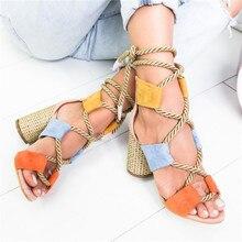 Summer  Espadrilles Women Sandals Hemp Heel Pointed Fish Mouth Gladiator Sandals Woman Lace Up Women Platform Sandals