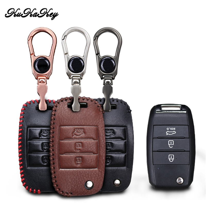 KUKAKEY Leather Car Key Case Cover Holder For Kia Rio K2 K3 K5 Bongo Sorento Soul Sportage Car Styling Accessories