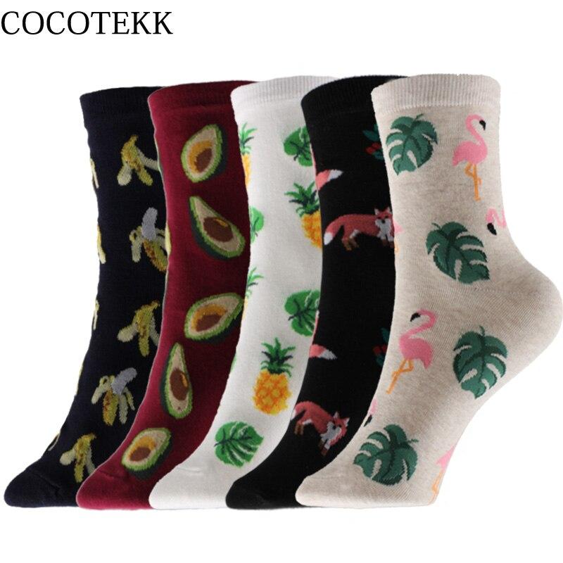 Cocotekk harajuku moda coreana penteado algodão meias femininas raposa abacaxi abacaxi banana frutas meias feliz engraçado presente