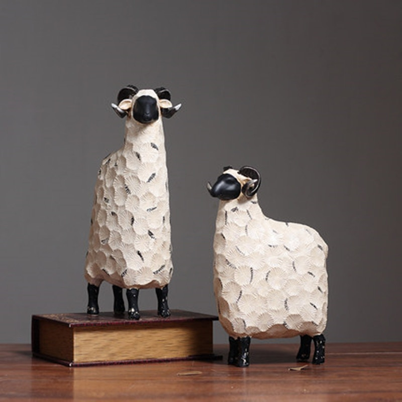 2PCS/SET Nordic Modern Creative Abstract Sheep Living Room Wine Cabinet Wedding Room Decoration Wedding Gift Birthday Gift M1991