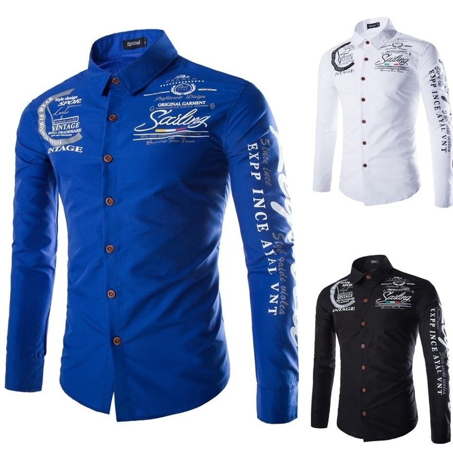 ZOGAA Casual Slim Fit Male Shirts 2018 Long Sleeve Shirt Geek Features Shirts Men Casual Jeans Shirt Autumn Printing Street wear