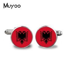 2017 joyería de moda gemelos Bandera Nacional Albanés fondo redondo boda tocado Vintage gemelos de cristal enlace