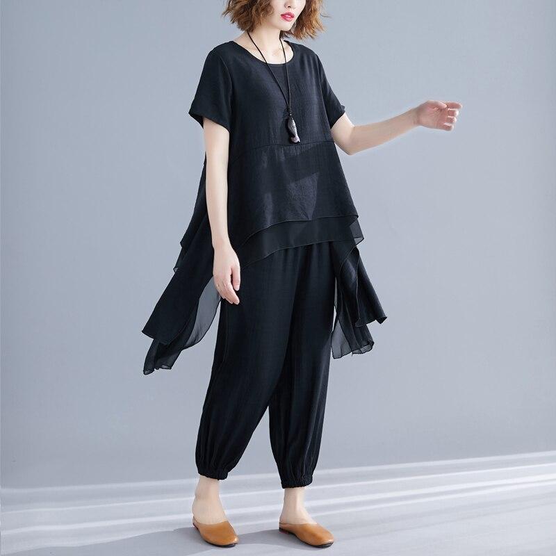 #0807 verano blusa larga asimétrica de manga corta Harem pantalones algodón Lino Casual Vintage establece dos piezas Mujer Plus Size Tide